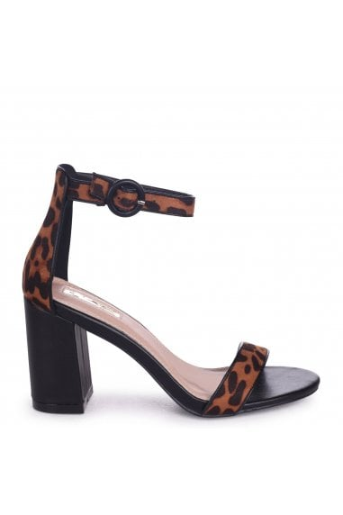 Sesame Brown Leopard Suede Barely There Block Heeled Sandals