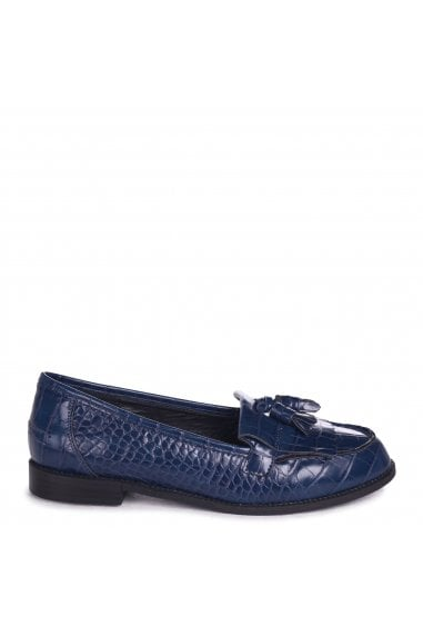 Rosemary Navy Croc Faux Leather Classic Slip On Loafer