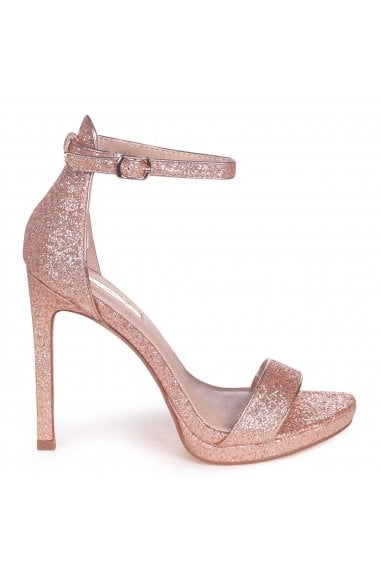 Gabriella Rose Gold Glitter Barely There Stiletto Heel With Slight Platform