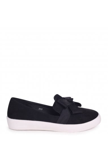Chic Black Suede Classic Slip On Skater with Organza Bow Front Detail