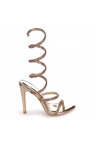 Marcie Gold Structured Spiral Wrap Around Heels