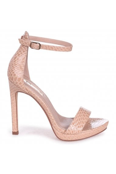 Gabriella Nude Lizard Patent Barely There Stiletto Heels With Slight Platform