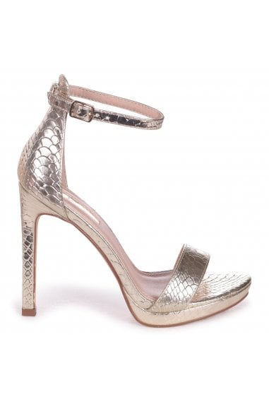 Gabriella Gold Lizard Barely There Stiletto Heels With Slight Platform