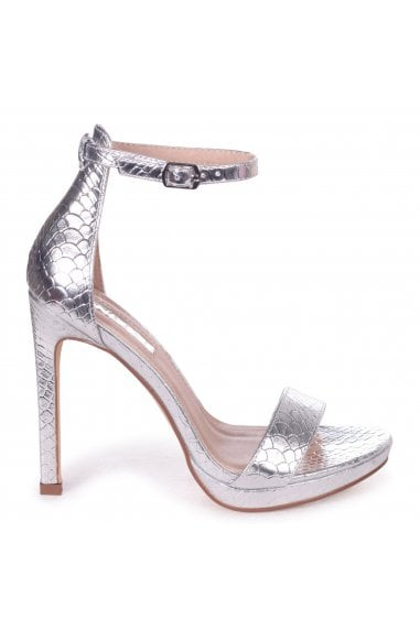 Gabriella Silver Lizard Barely There Stiletto Heel With Slight Platform