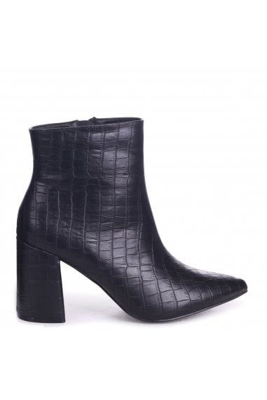 Alice Black Croc Nappa Block Heeled Boot With Pointed Toe