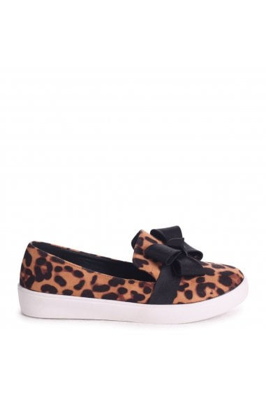 34ea41a641bd Chic Leopard Suede Classic Slip On Skater with Organza Bow Front Detail ·  Linzi ...