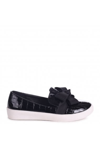 Chic Black Croc Patent Classic Slip On Skater with Organza Bow Front Detail