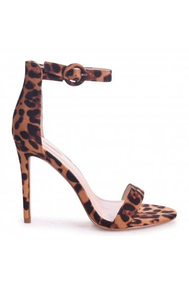 Nena Brown Leopard Suede Barely There Heels