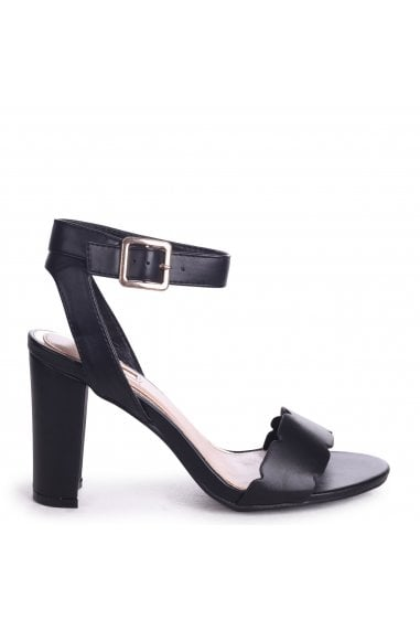 Darla Black Nappa Open Toe Block Heels With Ankle Strap Wavey Front Strap Details