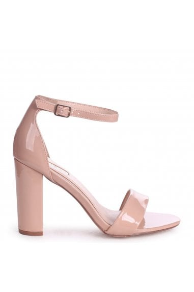 Nelly Nude Faux Patent Leather Suede Single Sole Block Heels
