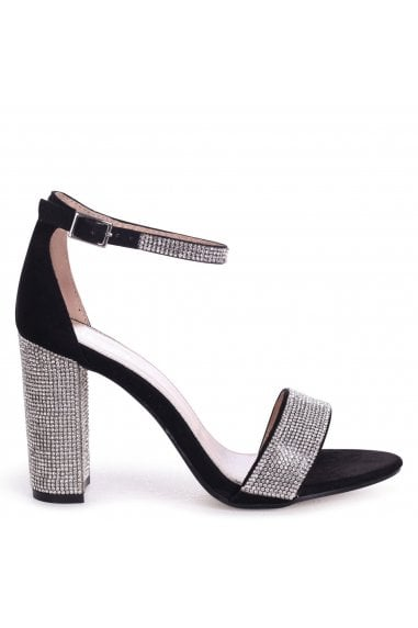 Kesha Black Suede Block Heel With Diamante Detail