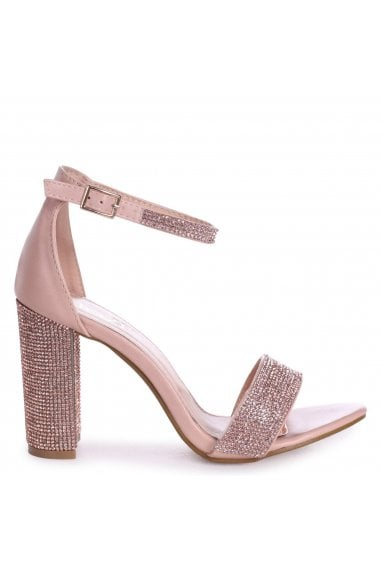 Kesha Nude Nappa Block Heels With Diamante Detail