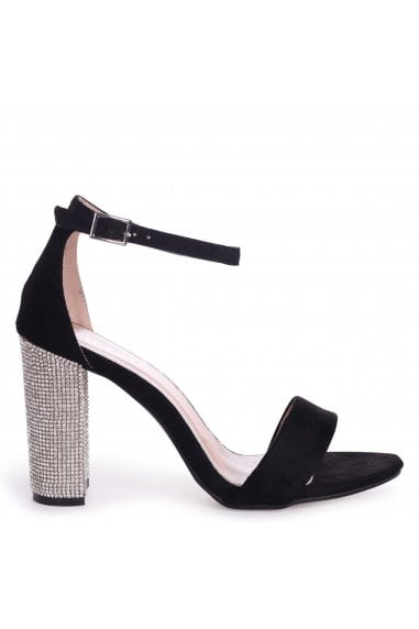 Kensey Black Suede Barely There With Diamante Heel