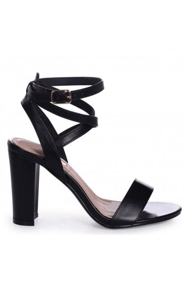 DANNI - Black Nappa Block Heeled Sandal With Cross Over Ankle Strap