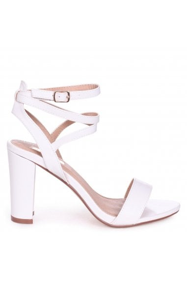 Danni White Nappa Block Heeled Sandals With Cross Over Ankle Straps