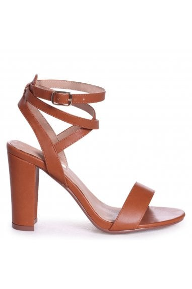 Danni Tan Nappa Block Heeled Sandals With Cross Over Ankle Straps
