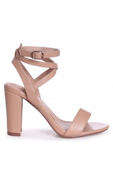 Danni Mocha Nappa Block Heeled Sandals With Cross Over Ankle Straps
