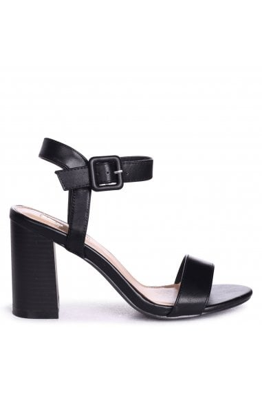 Kate Black Nappa Open Toe Stacked Block Heels With Ankle Straps