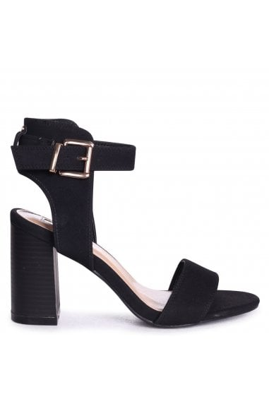 Kerry Black Suede Open Toe Stacked Block Heels With Ankle Straps