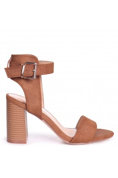 Kerry Tan Suede Open Toe Stacked Block Heels With Ankle Straps