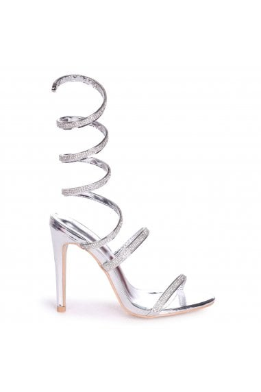 Marcie Silver Structured Spiral Wrap Around Heels