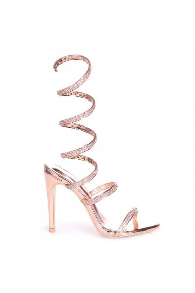 Marcie Rose Gold Structured Spiral Wrap Around Heel