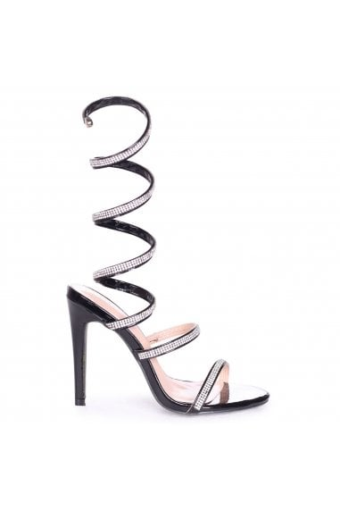 Marcie Black Structured Spiral Wrap Around Heels