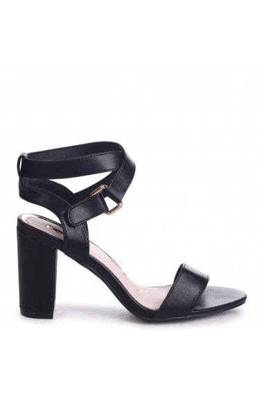 Abby Black Nappa Block Heeled Sandals