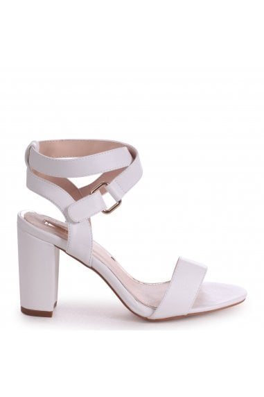 Abby White Block Heeled Sandals