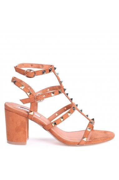 Tessa Tan Studded Block Heeled Sandals