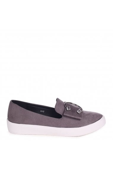Melina Grey Suede Slip On Skater With Horseshoe Bar And Stone Detail