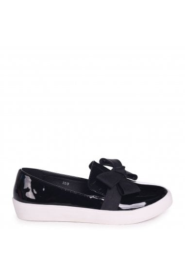 Chic Black Patent Classic Slip On Skater With Organza Bow Front Detail