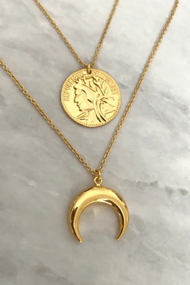 Gold Lunar Gold Plated Coin & Horn Layered Necklaces