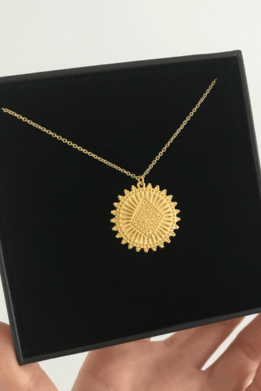 Gold Lunar Gold Plated Engraved Pendant Necklace
