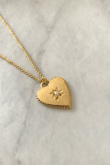 Gold Lunar Gold Plated Opal Heart Necklace