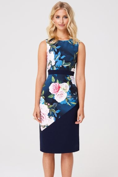 Mallord Rose Floral Midi Pencil Dress