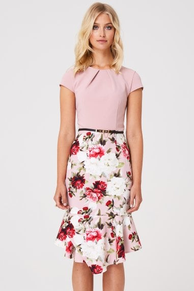 Chesam Pink Floral Peplum Dress