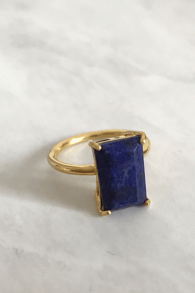 Gold Lunar Gold Plated Sterling Silver Lapis Ring