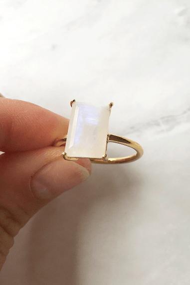 Gold Lunar Gold Plated Sterling Silver Moonstone Ring