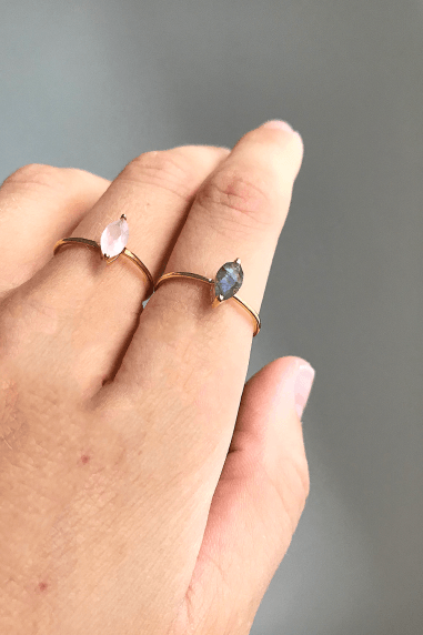 Gold Lunar Gold Plated Sterling Silver Rose Quartz & Labradorite Rings