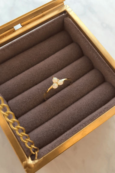 Gold Lunar Gold Plated Sterling Silver Opal Stone Ring