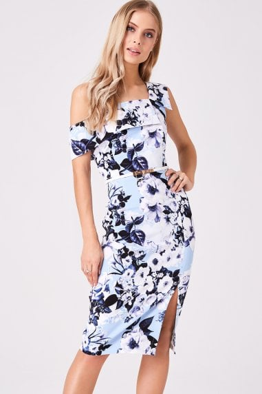 Mews Blue Floral Midi Pencil Dress