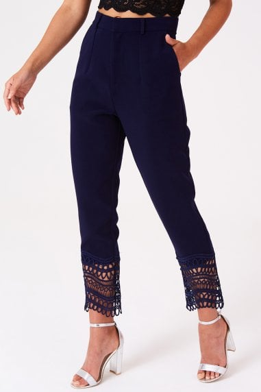 Gaby Navy Crochet Lace Trousers