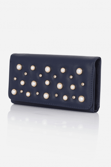 Navy Pearl-Stud Purse