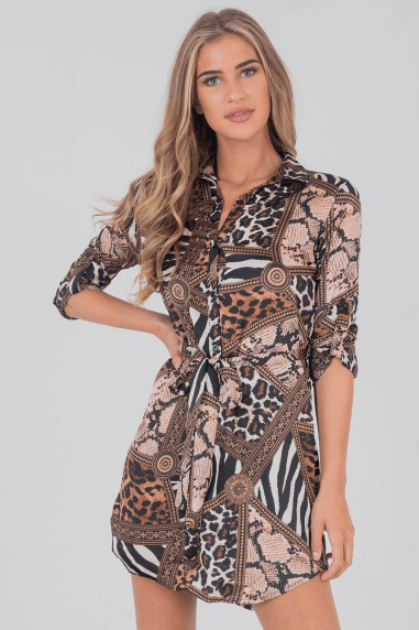Ashleigh Animal-Print Shirt Dress