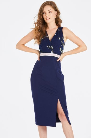 Maja Navy Floral Pencil Midi Dress