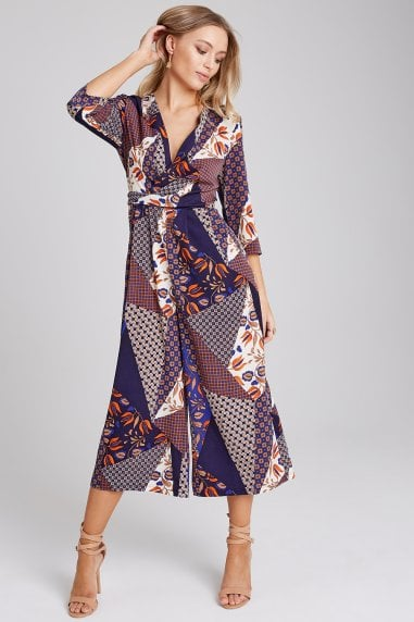 f5f2cf72a5 Edison Mixed-Print Culotte Jumpsuit. Girls on Film ...