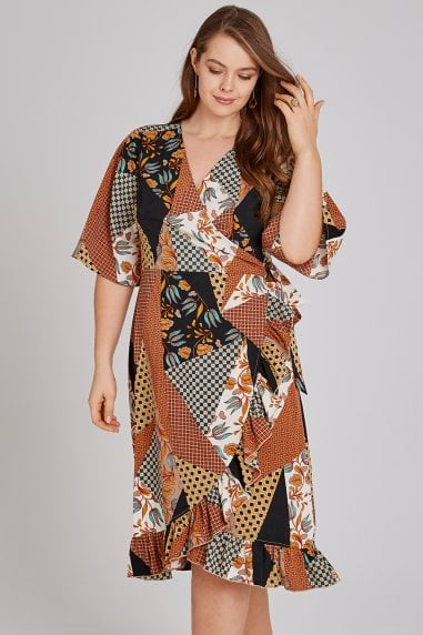 Cassis Scarf-Print Wrap Midi Dress