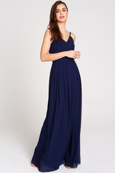 Endlessly Navy Chiffon Maxi Dress