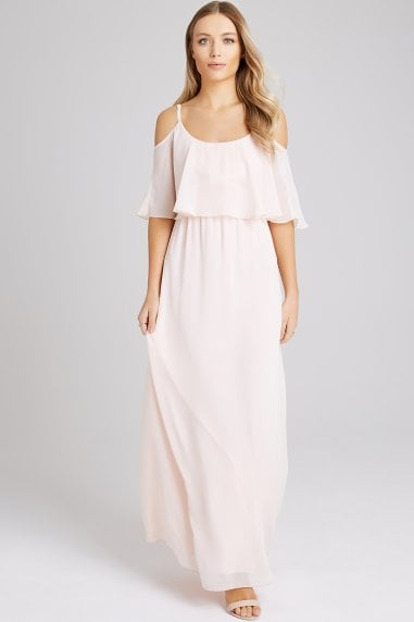 Motion Nude Chiffon Cold Shoulder Maxi Dress